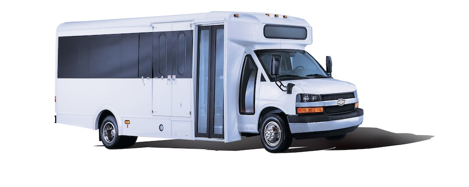 The Chevrolet Express Cutaway with shuttle bus upfit