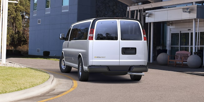 Rear exterior view of the Chevrolet Express Passenger.
