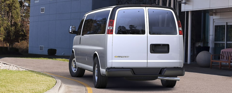Rear-view of the 2021 Express Passenger Van.