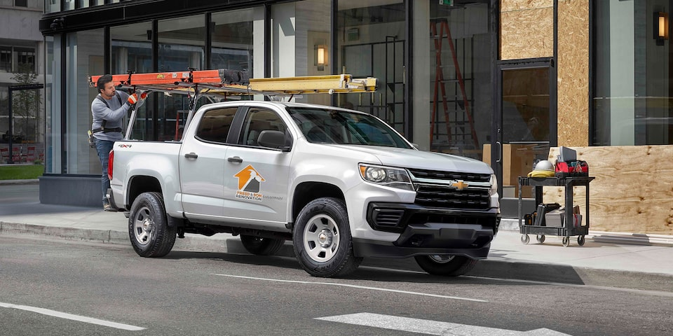2021 Colorado Work Truck Side View in Street.