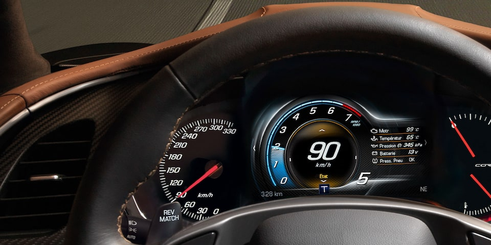 Chevrolet Corvette ZR1 technology: 8-inch diagonal LCD display.