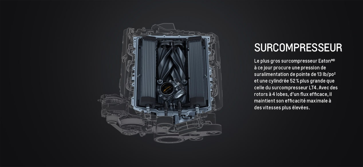Supercharger: The largest Eaton supercharger to date delivers peak boost pressure of 13 psi and 52% larger displacement than the LT4 supercharger. With high-flow efficiency 4-lobe design rotors, it maintains peak effectiveness at higher speeds.