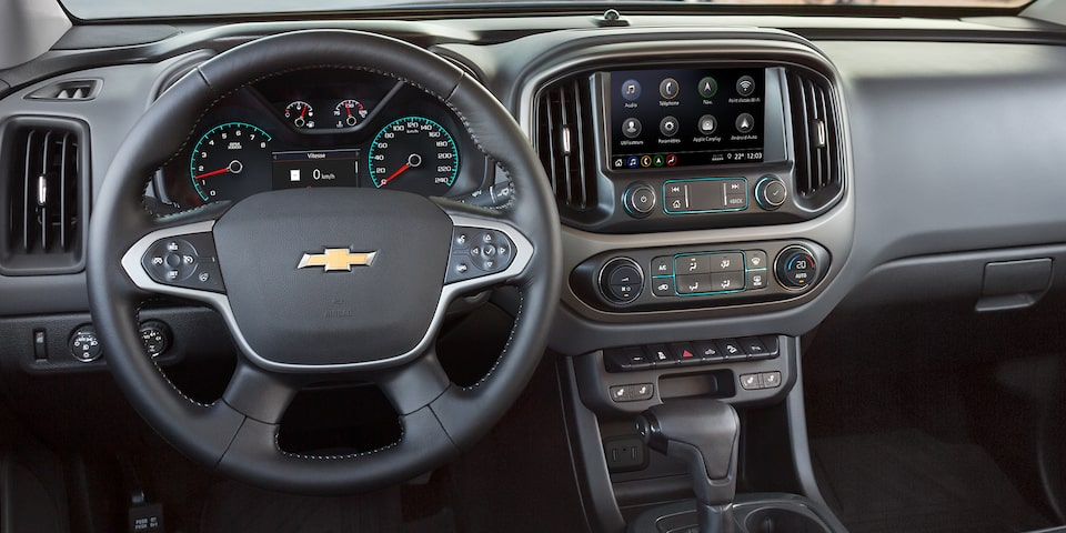 Refined, quiet and comfortable interior of the 2019 Colorado mid-size pickup truck.